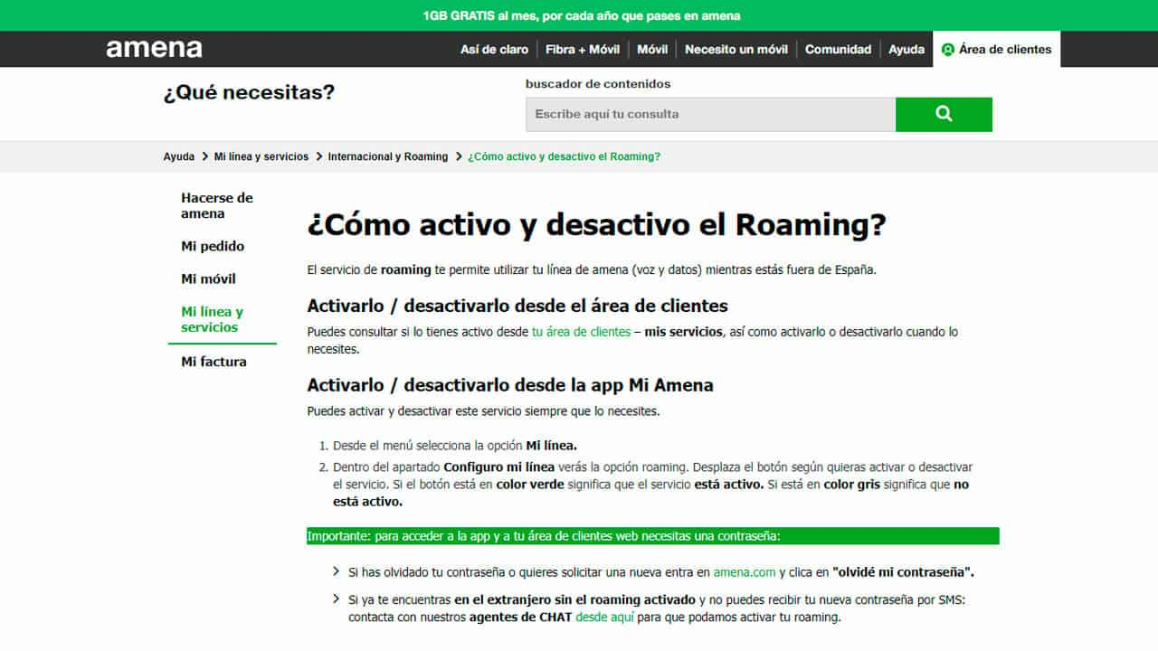 como activar el roaming amena