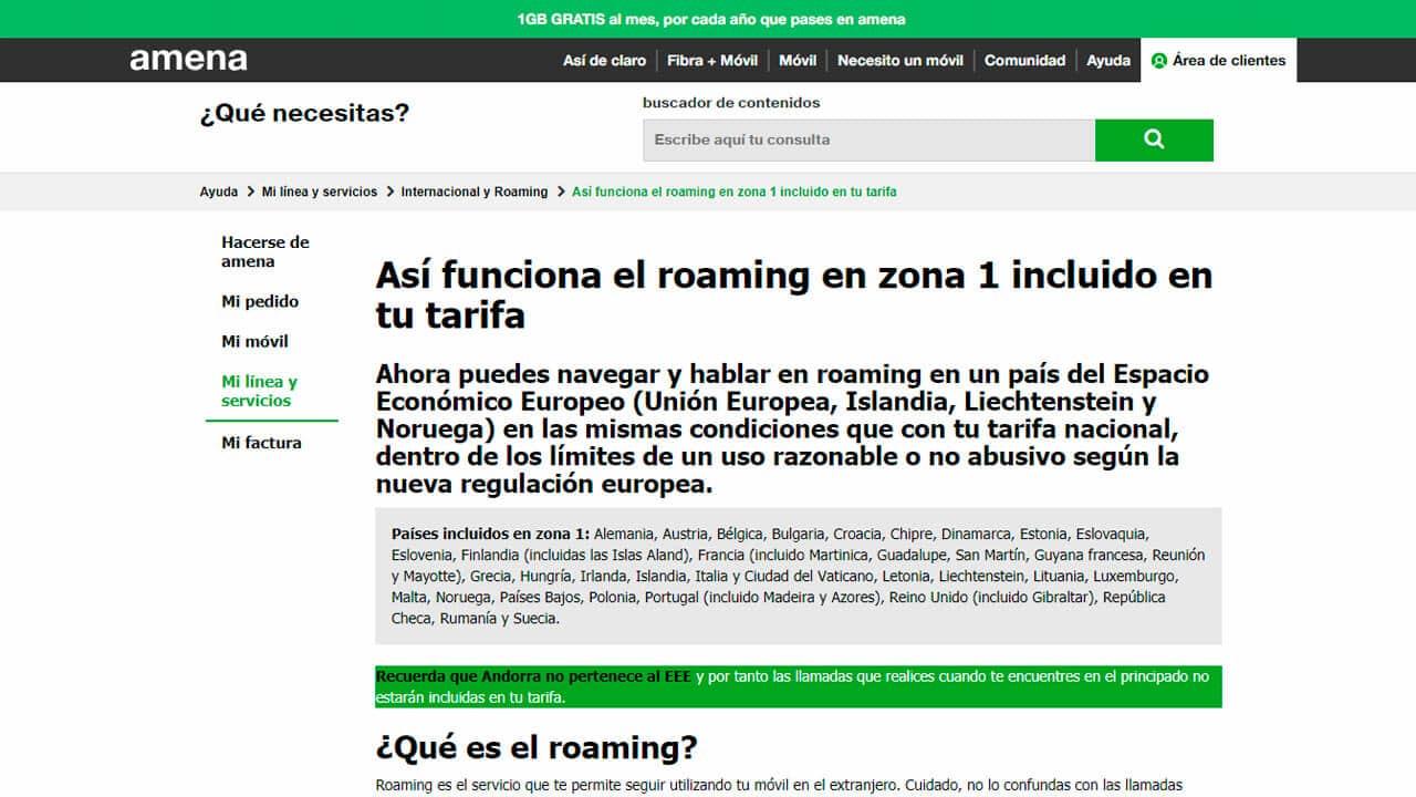 roaming amena zona uno