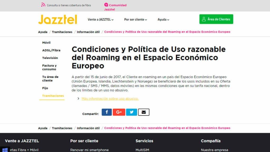 roaming jazztel en europa