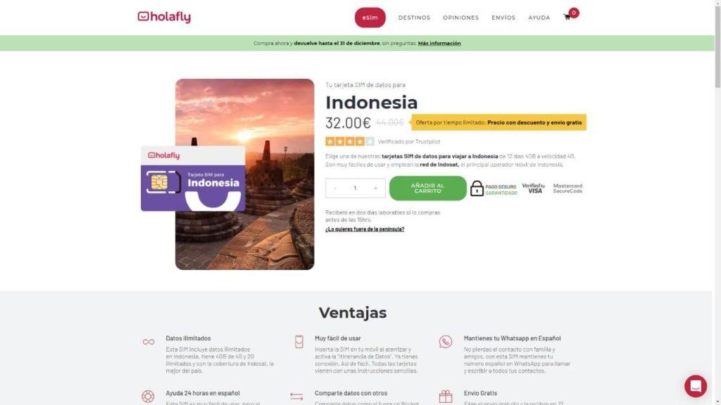 tarjeta sim de holafly para indonesia