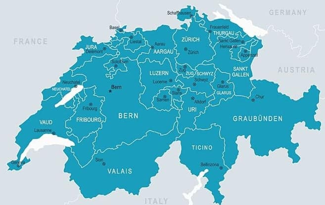 Mapa Suiza regiones y ciudades